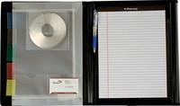 Tilaus/lehtiökansio A4, lankamekanismi, kulmatasku ja kynälokero, musta