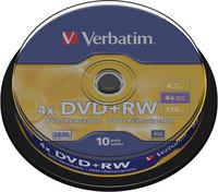 Verbatim DVD+RW 4.7GB 1-4x spindle, 1 kpl=10 levyä