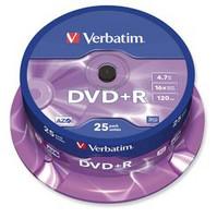 Verbatim DVD+R 4.7GB 16x spindle, 1 kpl=25 levyä