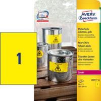 Avery L6111 Heavy Duty tarra 210 x 297mm 1-osainen keltainen, 1 kpl=20 tarraa