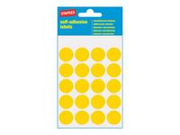 Pyöreä keltainen merkkaustarra. Halkaisija 19mm