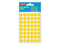 Pyöreä keltainen merkkaustarra. Halkaisija 12mm
