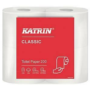 Katrin Classic Toilet 200 wc-paperi valkoinen, 1 pakkaus=10x4 rullaa