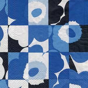 Marimekko Miniruutu unikko sininen lautasliina, 1 kpl=20 liinaa