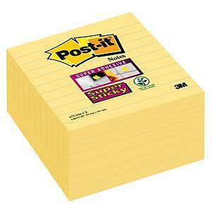 Post-It Super Sticky viestilappu 101x101mm viivoitettu kelt., 1 kpl=6 nidettä
