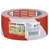 Puna-valkoinen varoitusteippi Tesa 50mm x 66m