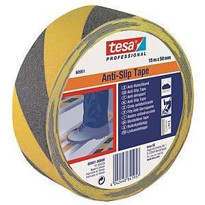 Tesa liukuesteteippi 50mm x 15m musta/keltainen