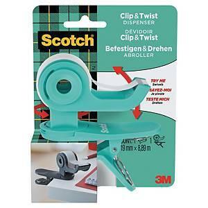 Scotch C19 Clip & Twist teippiannostelija klipsillä 19mm x 8,89m