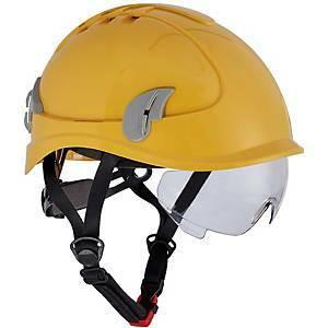 Keltainen suojakypärä suojalaseilla Alpinworker