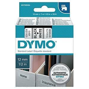 Dymo S0720530 D1 tarranauha 12mm musta/valkoinen