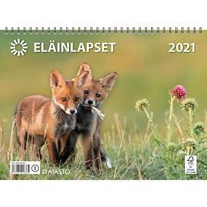 Eläinlapset seinäkalenteri 2021 290 x 420 mm
