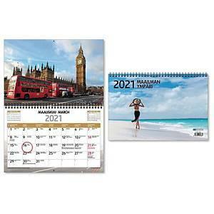 Maailman ympäri seinäkalenteri 2021 300 x 400 mm