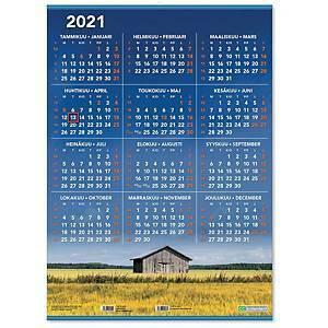 Vuosijuliste listoilla taulukkokalenteri 2021 520 x 720 mm