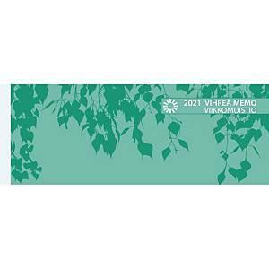 Vihreä Memo viikkomuistio pöytäkalenteri 2021 255 x 95 mm