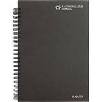 Ajanvaraus/Bokning pöytäkalenteri 2021 A4 parikierresidottu, harmaa