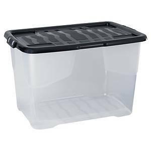 Kannellinen muovinen kirkas säilytyslaatikk0 65 litraa