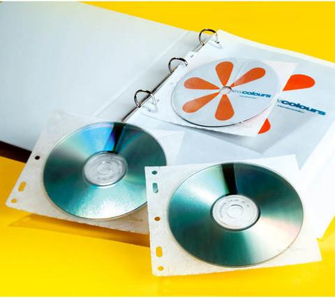 Cd-tasku 1-2 Cd- tai Dvd levylle kansioreiät, 10kpl paketti