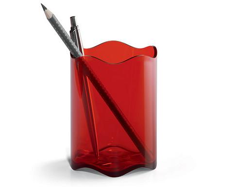 Punainen muovinen läpinäkyvä kynäpurkki