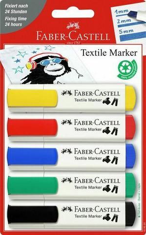 Tekstiilikynä riippupakattu, 5 väriä/sarja