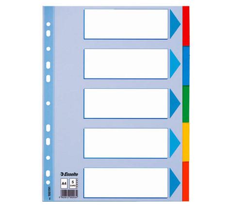 Välilehti A4 kartonkinen 5-os värillinen, 20srj paketti