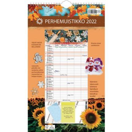 Perhemuistikko seinäkalenteri 2022 250 x 415 mm