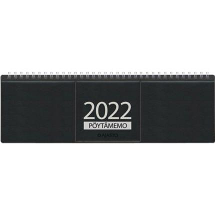 Ajasto Pöytämemo pöytäkalenteri 2022 305 x 90 mm musta