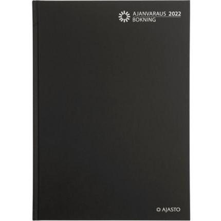 Ajasto Ajanvaraus/Bokning pöytäkalenteri 2022 A4 sidottu, musta