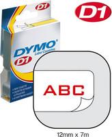 Dymo teippi 12mmx7m 45015 punainen/valkoinen
