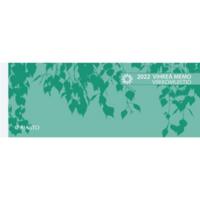 Vihreä Memo viikkomuistio pöytäkalenteri 2022 255 x 95 mm