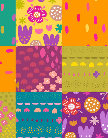 Tilkkutäkki-cotton fabric multicolor