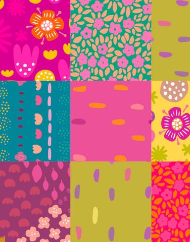 Tilkkutäkki-viscose fabric multicolor