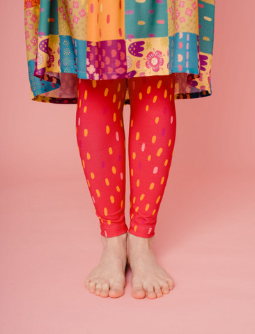 Aamu-leggings dotted raspberry