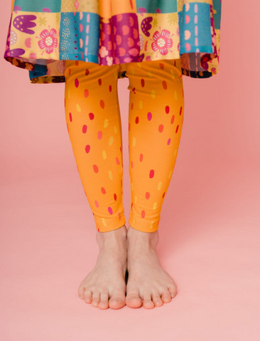 Aamu-leggings dotted sunshine yellow