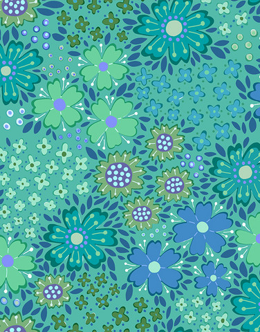 Floora-puuvillatrikoo sinivihreä