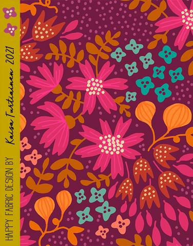 Kreeta-cotton fabric purple