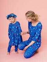 Aamu-leggings dotted blue