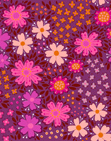 Floora-cotton fabric purple