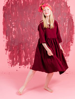 Liisi-Dress embroidered red wine