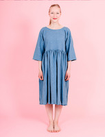 Liisi-Dress embroidered sky blue