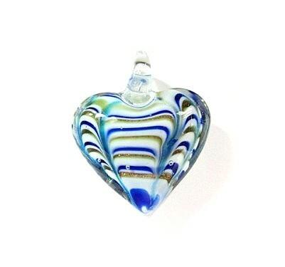 Vaalea sini-, kultaraitainen pullea lasisydän kaulakoru