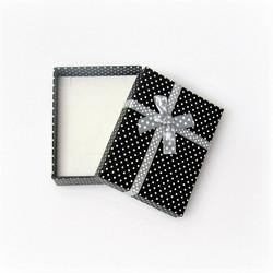 Polka dot lahjarasia koruille Musta/Harmaa 7 x 9 x 2,6cm