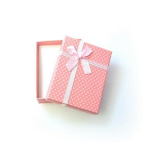 Polka dot lahjarasia koruille Vaaleanpunainen 7 x 9 x 2,6cm