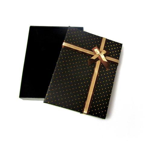 Polka dot lahjarasia koruille Musta/Ruskea/Kulta 12 x 16 x 2,6cm