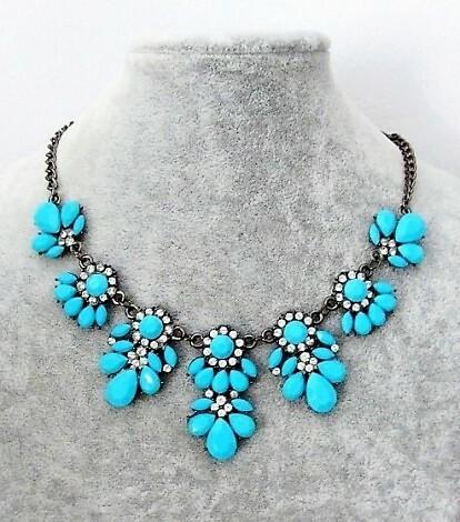 Sininen/Turkoosi Akryyli / Kristalli kaulakoru