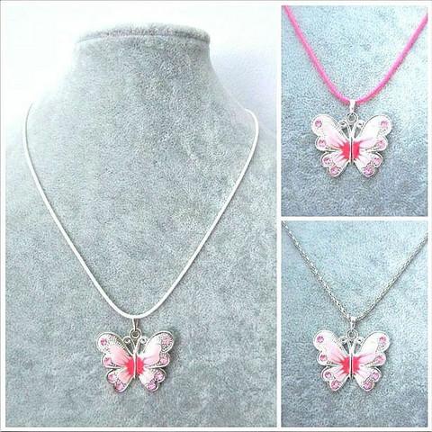 Pieni vaaleanpunainen/pinkki perhoskaulakoru