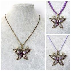 Kaunis pronssinvärinen violetti perhoskaulakoru