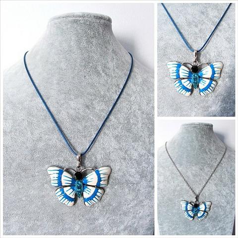 Kaunis kupera sinivalkoinen perhoskaulakoru