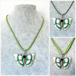 Kaunis kupera vihreävalkoinen perhoskaulakoru