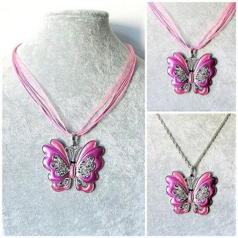 Iso pinkki perhoskaulakoru
