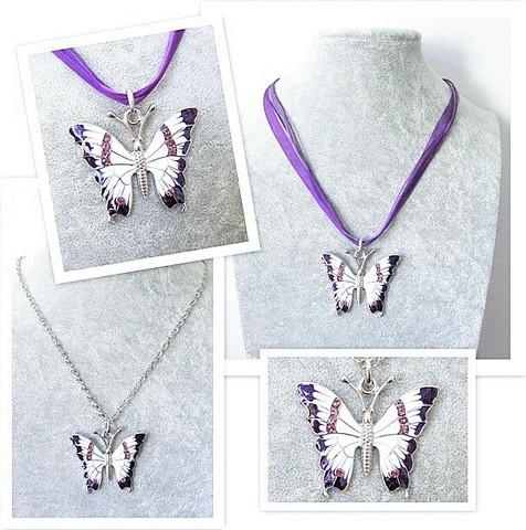 Todella upea ja laadukas violettivalkoinen perhoskaulakoru
